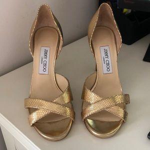 Jimmy Choo Vikra gold sandals size 38.5